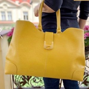 FENDI Chameleon Large Saffiano Leather Tote Yellow